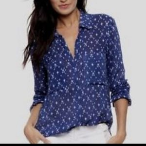 Cloth & Stone 100% Rayon Blue Star Print Top Small